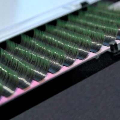 Ресницы черные с цветными кончиками(Зеленые) MIX D - Загиб/0,10мм
