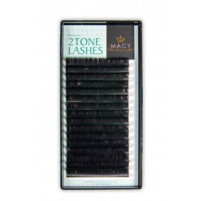Ресницы черные с цветными кончиками(Зеленые) D - Загиб/0,15мм